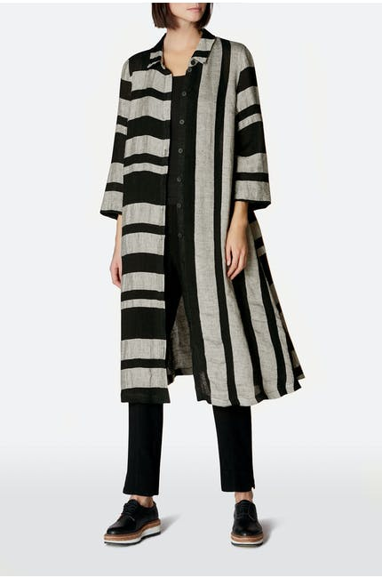 Linen Stripe Shirt Dress