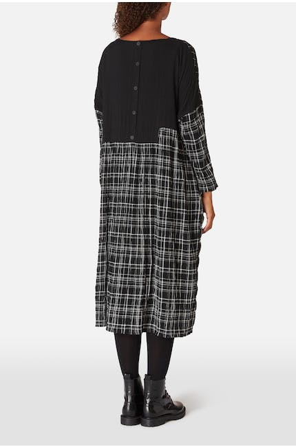 Mono Patch Check Boxy Dress