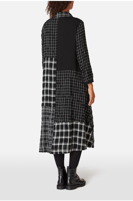 Mono Patch Check Shirt Dress
