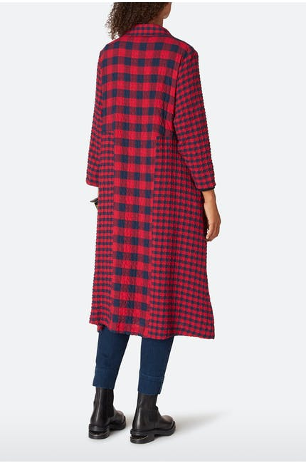 Crinkle Gingham Shirt Dress
