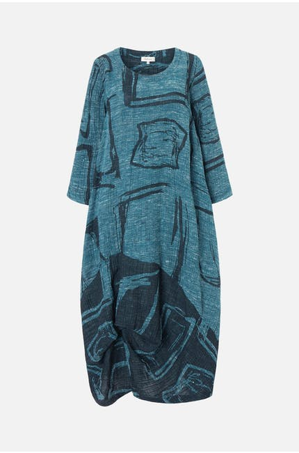 Abstract Print Tweed Dress