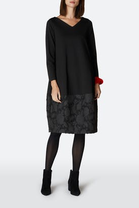 Photo of Ponte Boucle Flower Trim Dress