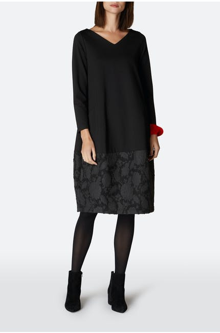 Ponte Boucle Flower Trim Dress