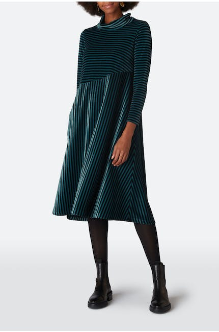 Velvet Jersey Stripe Dress