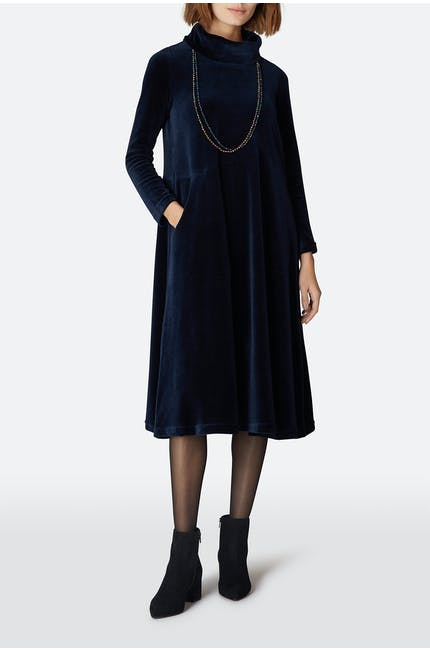 Velvet Jersey Cowl Neck Dress