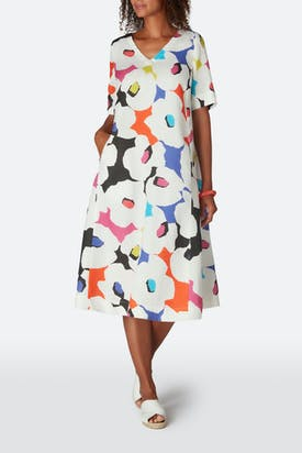 Photo of Modernist Floral Print Linen Dress