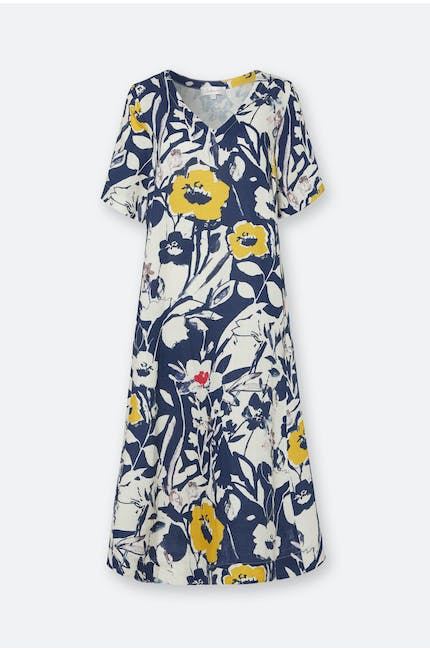 Photo of Wild Flower Print Linen A-Line Dress
