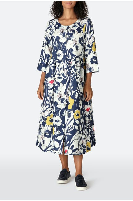 Photo of Wild Flower Print Linen Shirt Dress