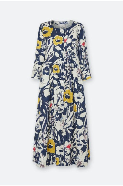 Wild Flower Print Linen Shirt Dress