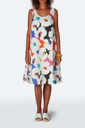 Photo of Modernist Print Linen Sleeveless Dress
