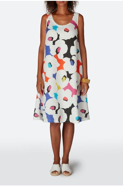 Modernist Print Linen Sleeveless Dress