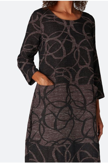 Abstract Circle Jacquard Dress