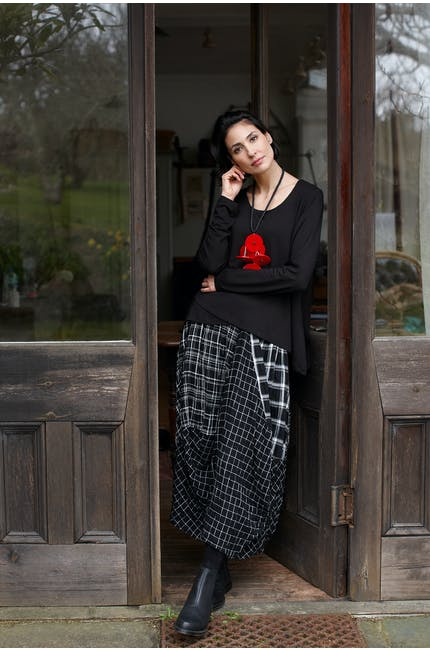 Mono Patch Check Skirt