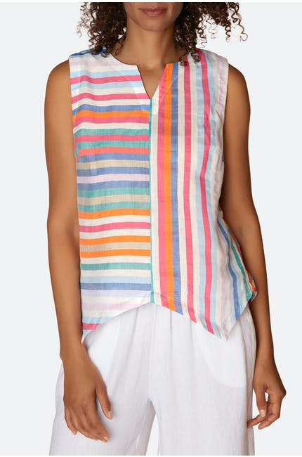 Stripe Linen Sleeveless Top