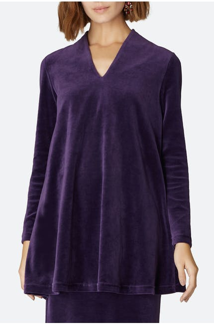 Photo of Velvet Jersey V Neck Tunic