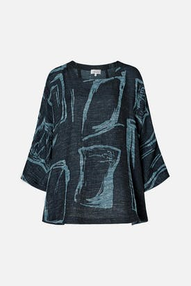 Photo of Abstract Print Tweed Top