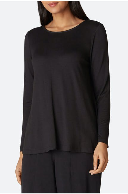 Fluid Crepe Jersey Long Sleeve Top