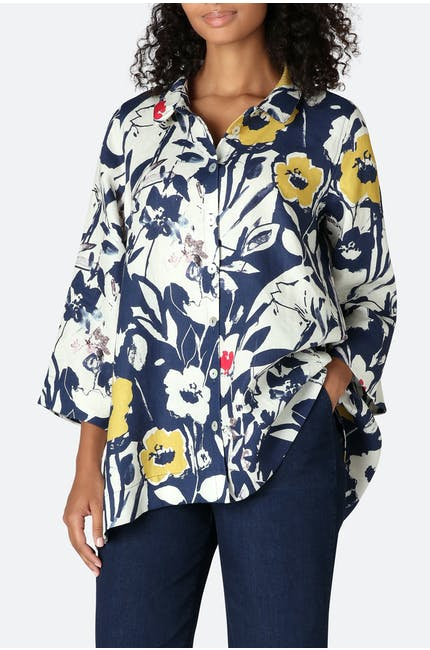 Photo of Wild Flower Print Linen Shirt