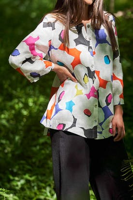 Photo of Modernist Floral Print Linen Shirt