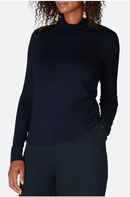 Jersey Polo Neck Top