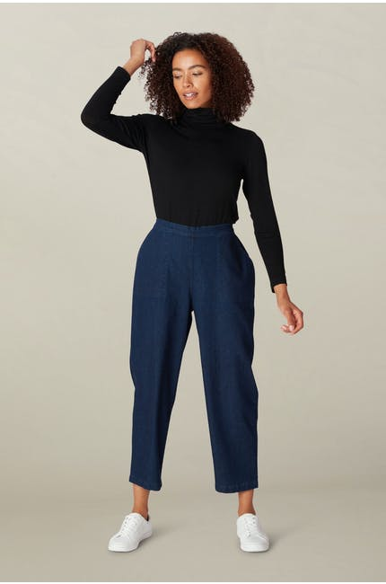 Crepe Jersey Polo Neck Top
