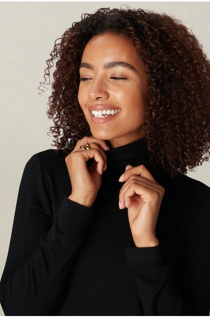 Photo of Crepe Jersey Polo Neck Top