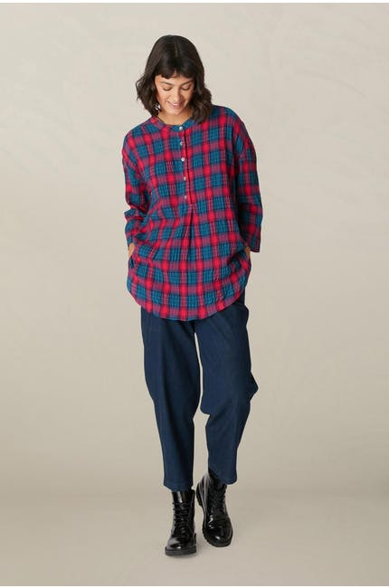 Contrast Check Flared Shirt