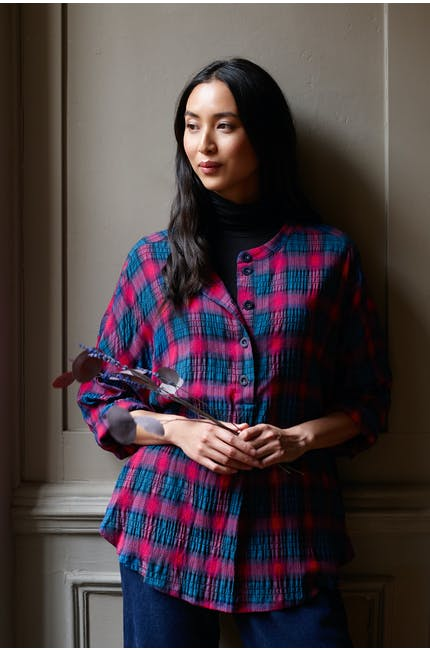 Photo of Contrast Check Flared Shirt