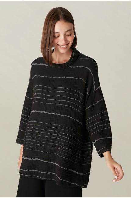 Photo of Sketched Line Cowl Neck Top