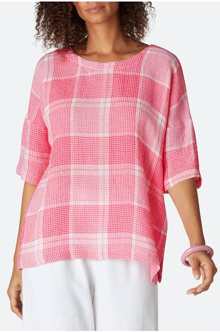 Seersucker Grid Check Boxy Top