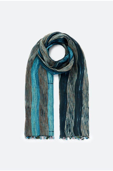 Blended Silk Stripe Scarf