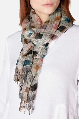 Photo of Crinkle Square Print Silk Scarf