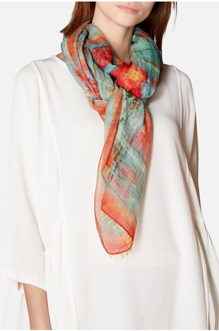 Blurred Cube Print Silk Mix Scarf