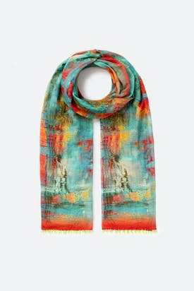 Photo of Blurred Cube Print Silk Mix Scarf