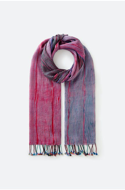 Purple Stripe Silk Scarf