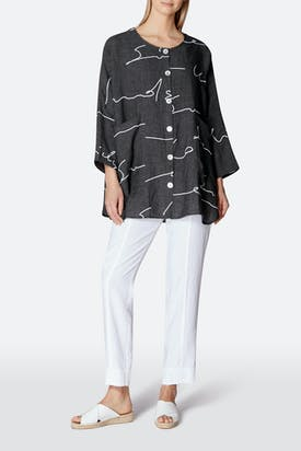 Photo of Signature Print Linen Shirt