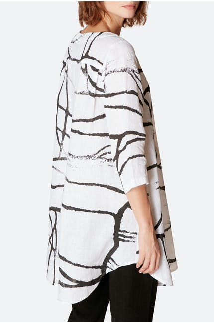 Abstract Linen Top