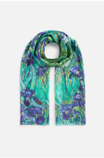 Photo of Artistic Floral Silk Scarf