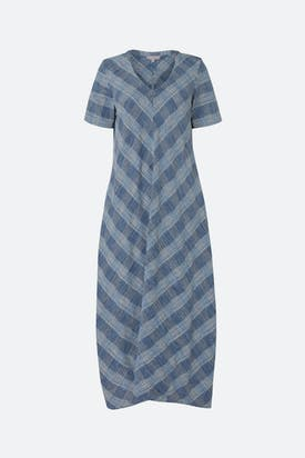 Photo of Chambray Cotton Check Dress