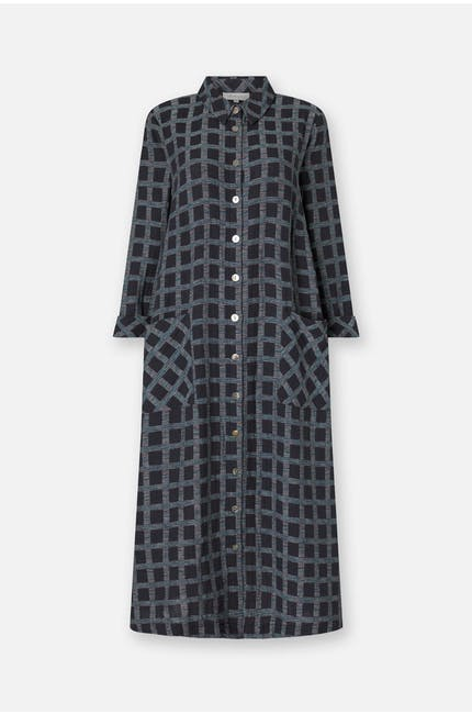 Photo of Cotton Ikat Check Shirt Dress