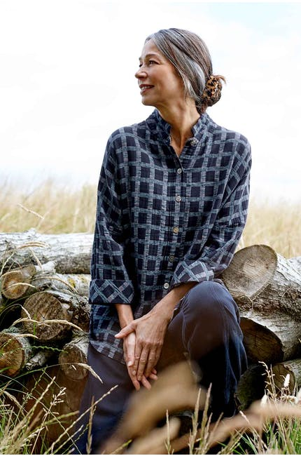 Photo of Cotton Ikat Check Shirt