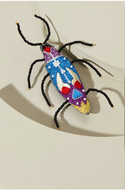 Embroidered Beetle Brooch