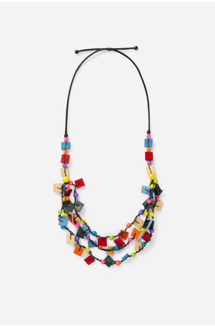 Square And Bead Necklace