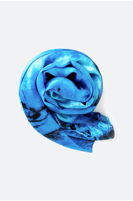 Hibiscus Fossil Silk Scarf