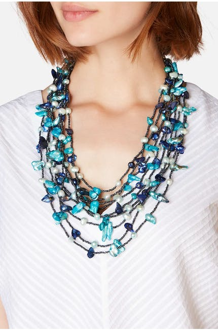 Azure Pebble & Pearl Necklace