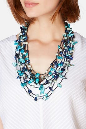 Photo of Azure Pebble & Pearl Necklace