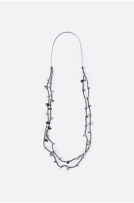 Black Duo Pearl Necklace