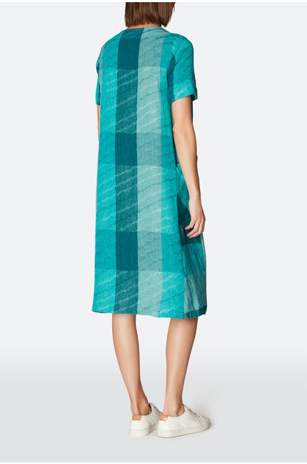 Stripe Wave Jacquard Linen Dress