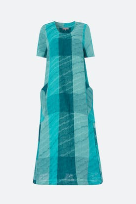 Photo of Stripe Wave Jacquard Linen Dress