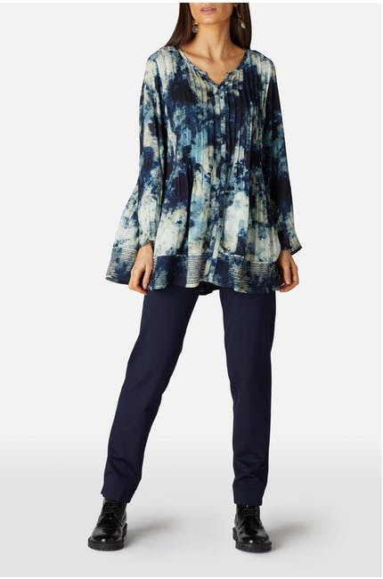 Night Sky Print Pintuck Tunic